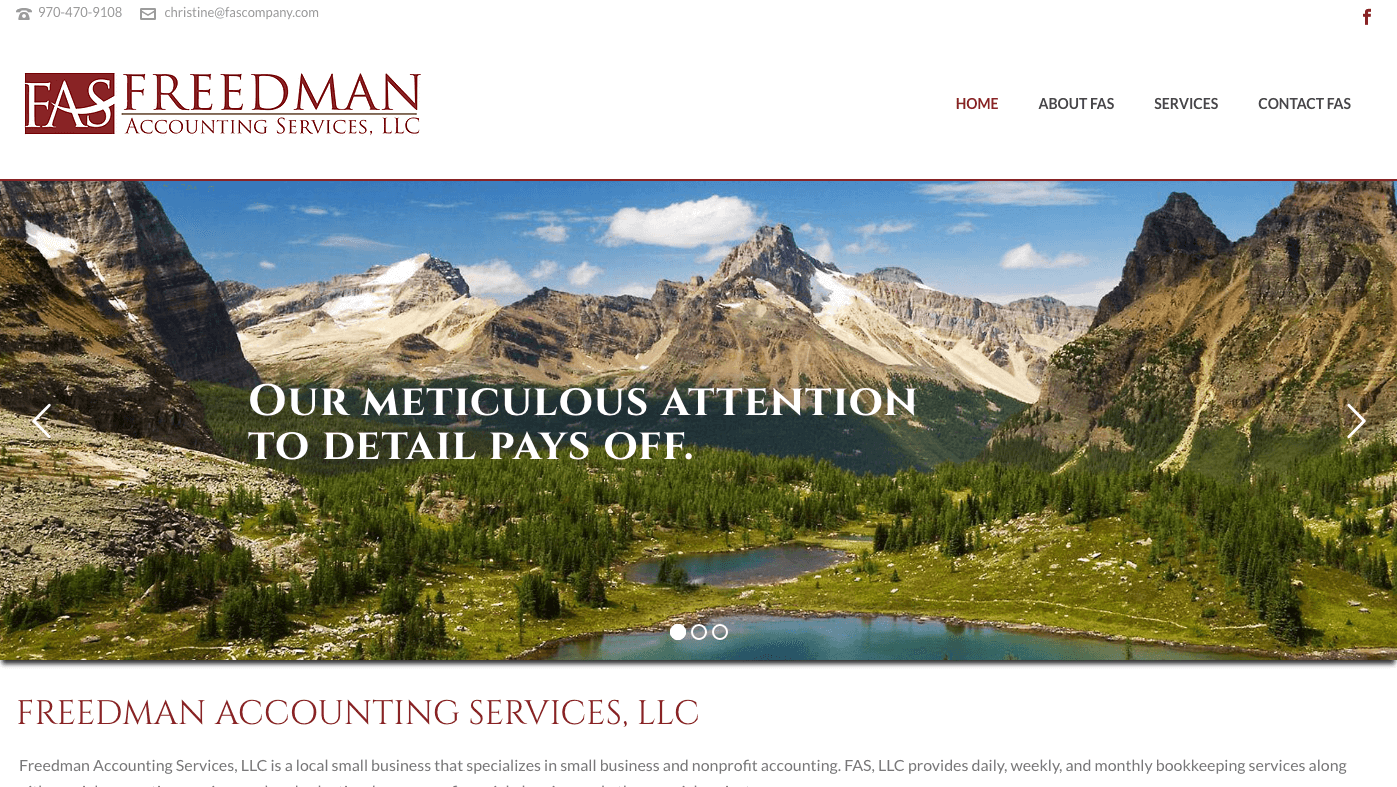 Freedman Accounting Service LLC website built by Mobloggy