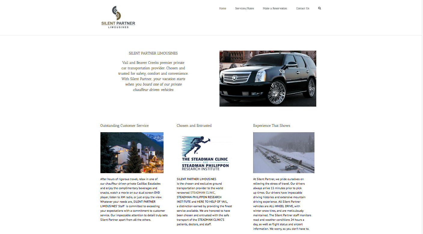 Silent Partner Limo - Website built by Mobloggy